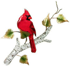Cardinal on Birch Metal Bird Wall Art Decor Sculpture- Bovano of Cheshire #W4176
