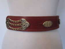 VINTAGE 1980'S TAN TOOLED LEATHER BELT FANCY GOLD TONE STUDS AND CHAIN DETAIL