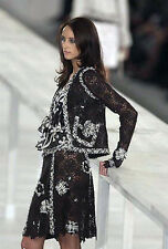 CHANEL 04P MOST WANTED Black Lace Tweed Camellia Jacket Skirt Suit 38 40 $10K