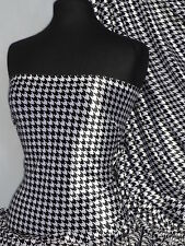 Black/White Dogtooth Velvet Spandex Fabric Luxuriously Soft Velvet PVEL 25 BKWHT