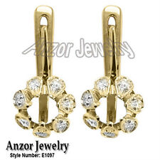 Russian Style Diamond Semi Mount Earrings in 14k Yellow OR White Gold #E1097