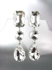 GLITZY SHIMMER Clear Czech Crystals LONG Bridal Queen Pageant Prom CLIP Earrings