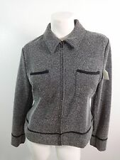 JM COLLECTION WOMENS BLACK WHITE TWEED FRONT ZIP JACKET SIZE M SUPER CUTE!tw