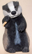 """Country Artists: Handpainted Resin 03765: Badger Cub Eating A Carrot: 5¾"""" Tall"""