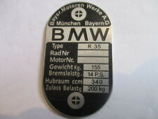 Nameplate BMW R 35 R35 Vintage motorcycle Shield s21 Aluminum etched