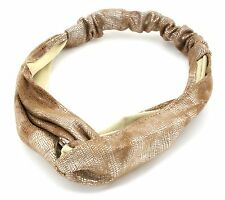 Zest Wide Foil Snake Print Head Wrap Hair Accessory Gold