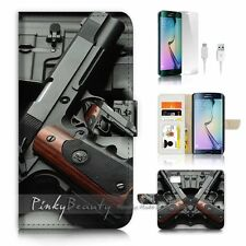 Samsung Galaxy ( S7 Edge ) Flip Wallet Case Cover P1755 Gun