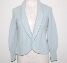 Talbots 100% Cashmere Thick 8ply Blue Cardigan Sweater PS