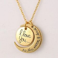 Valentine's Day Gifts for Lover Gold Moon Pendant Charm Necklace Chain Love You