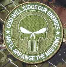 """GOD WILL JUDGE OUR ENEMIES PUNISHER USA MULTICAM VELCRO® BRAND FASTENER PATCH 4"""""""