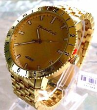 Men's Casual Watch Montres Carlo MC40754 Gold Dial and Gold Bracelet Band
