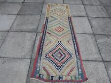 Old Traditional Hand Made Persian Oriental Kilim Runner Wool Faded Blue 210x70cm