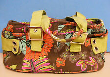 KOKO Brown Field Flowers LUNCH SACK Snack Insulated Bag Cooler Lime Handles s/m