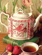 White Porcelain Teapot w/ Red Bird Design 54 Oz. Capacity Free Ship NIB