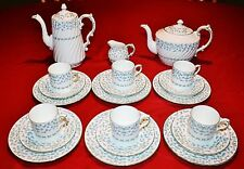 AYNSLEY FORGET ME NOT TEAPOT, COFFEE POT, DEMI CUPS & SAUCERS, PLATES - 21 PCS
