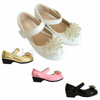 Girls kids Children Velcro wedding Bridesmaid Casual Evening Party Shoes 7-3