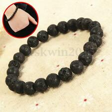 23cm Boys Men's Lava Stone Rock Beaded Elastic Yoga Gemstone Mala Bracelet Beads
