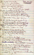 BOB DYLAN REPRO 1962 - TALKING NEW YORK - HANDWRITTEN LYRICS . NOT CD DVD