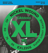D'Addario EXL220S XL NICKEL BASS STRINGS, SHORT SCALE - LIGHT GAUGE 4's - 40-95