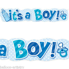 4.5ft Giant Blue It's a Boy New Baby Shower Bottle Jointed Banner Decoration