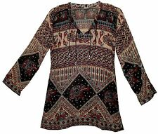 Indian boho cotton ethnic TOP HIPPIE BLOUSE TUNIC vintage look retro gypsy dress