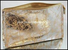 Sephora Gold Shiny Faux Leather Makeup Cosmetic Bag Clutch Splattered Paint Look
