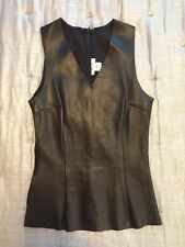 SOLD Black Leather Tank Top Silk Leather Fromt  Sz 6