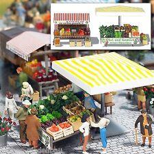 BUSCH 1071 H0 Marktstand Obst und Gemüse, Bausatz, Neu