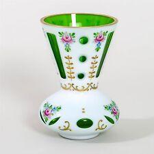 """Bohemian Art Glass Flower Vase 6"""" Moser Cased White Cut Green Painted Gilt Czech"""