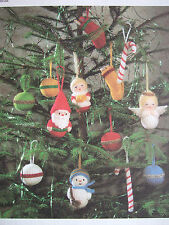 JEAN GREENHOWE TOY / DOLL KNITTING PATTERN CHRISTMAS TREE TRIMS Santa Snowman et