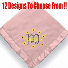 Personalized Monogrammed Baby Blanket for Girls ~ Embroidered baby girl blanket