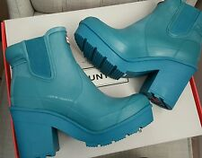 NIB HUNTER ORIGINAL BLOCK HEEL CHELSEA PLATFORM RAIN BOOTS BRIGHT PEACOCK US 8