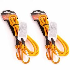 """2 x BUNGEE CORD & SPRING LOADED CARABINER 72"""" Extra Long Luggage/Camping Straps"""