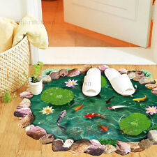 Removable 3D Lotus Floor/Wall Sticker Mural Decals Vinyl Art Living Room Decor