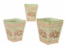 French country planters vintage painted metal decorative bucket pots (set of 3)
