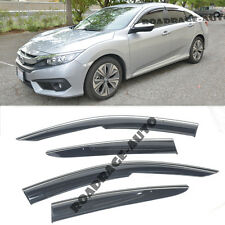 For 16-Up Honda Civic Sedan Injection Clip On Side Window Visors W/ Chrome Trim