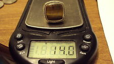 925 STERLING SILVER BROWN TIGER EYE square slab BEAD RING 7 .5 *