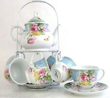 13 PC PORCELAIN PINK,YELLOW ROSE FLOWER COFFEE TEAPOT+MUG,CUP+SAUCER,PLATE- 43