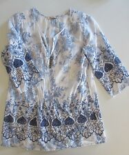 Womens SOFT SURROUNDINGS Blue & White Floral Embroidered Top Tunic PXS Petite XS