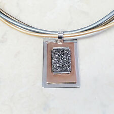 """RLM Studio Robert Lee Morris Sterling Silver Bronze 18"""" Leather Necklace QVC"""