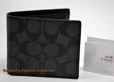 NWT COACH MEN'S COMPACT ID WALLET IN Signature COATED CANVAS with Leather F74993