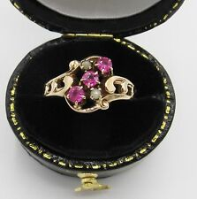 Antique Victorian Pink Sapphire Seed Pearl Ring 10k Rose Gold Art Nouveau