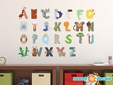 Animal Alphabet Fabric Wall Decals, Repositionable & Reusable, ABC Wall Letters