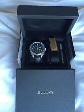 ��BULOVA SPECIAL EDITION UHF MOON CHRONOGRAPH W BLACK LEATHER BAND 96B251 NWT!��