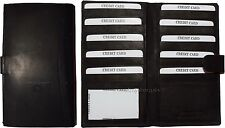 New leather checkbook cover credit card ID organizer Black wallet 19 Cards BNWT