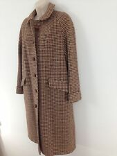Harris Tweed Handwoven Womens sz 16 Brwn Houndstooth Long Trench Lined Wool Coat