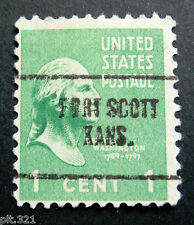 Sc # 804 ~ 1 cent George Washington Issue, Precancel, FORT SCOTT KANS.