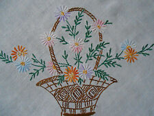 BEAUTIFUL VINTAGE LINO RICAMATA MANO Tablecloth