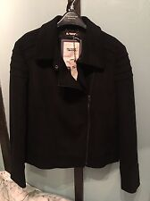 Tommy Hilfiger Genna Black Wool Biker Jacket XL UK 14/16