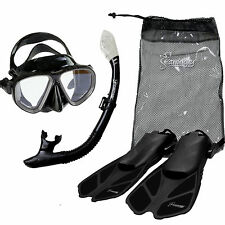 Black Silicon Seavenger Diving Set S/M Adult Size  Dry Snorkel Trek Fin Mask Bag